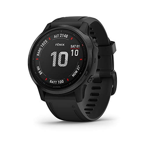 Garmin fenix 6S Pro, Premium Multisport GPS Watch, Smaller-Sized, Features Mapping, Music, Grade-Adjusted Pace Guidance and Pulse Ox Sensors, Black