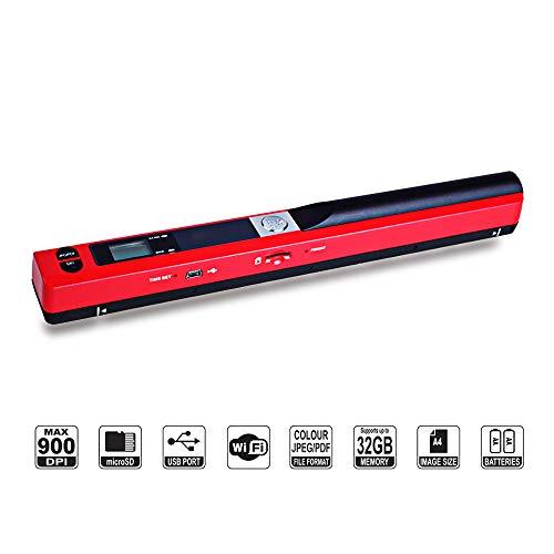 Tragbarer USB 2.0 Wireless Handscanner, tragbarer A4 Farb-Foto-Scanner mit 900 dpi Scanauflösung, Handdokumentenscanner mit JPEG und PDF-Formaten