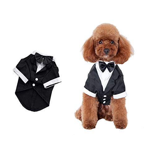 SOGAYU Dog Tuxedo Costume Formal Shirt, Dog Wedding Black Jacket Suit Bow Tie, Puppy Prince Ceremony Bow Tie Suit Small Cats Dogs Clothes