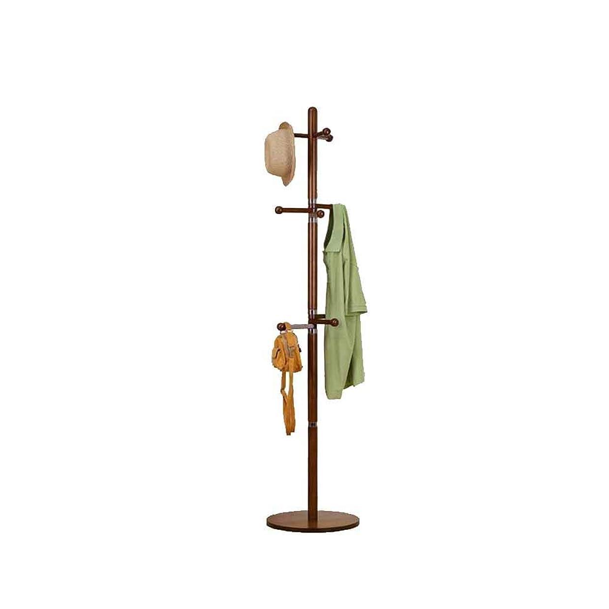 生命体とげ神聖XJMSB コートラック無垢材ラウンドボトムスシンプルモダンフロアスタンド寝室家庭用リビングルーム多機能洋服ラック (Color : Brown)