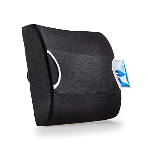 SELVA Cojín de apoyo para la espalda con almohadilla de gel con función frío/calor, ideal para la oficina, el coche o en casa, apoyo óptimo y alivio para la espalda, con correa