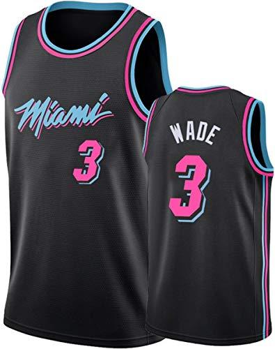 GIHI Camiseta De La NBA - Camisetas De Miami Heat NBA 3# Dwyane Wade - Camiseta Cómoda Unisex con Chaleco Deportivo De Baloncesto,A,L(175~180CM/75~85KG)