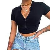 Crop Top Mujer Camisetas Manga Corta Verano Cuello en V Sexy Casual Algodón Blusas Tops con Cremallera Camisetas Elásticas con Cuello Alto (S, Negro)