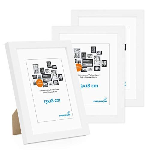 Photolini Juego de 3 Marcos 13x18 cm Modernos, Blancos de MDF con Vidrio acrílico, Incluyendo Accesorios/Collage de Fotos/galería de imágenes