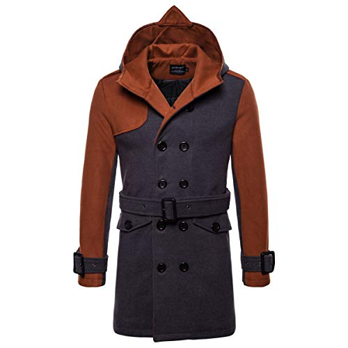 AOWOFS Men's Winter Mid Long Wool Blend Coat Double Breasted Warm Overcoat Stitching Color Trench Coat Camel