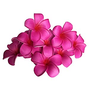 Josairy Water Floating Plumeria Artificial Flower Frangipani for Pool Decoration and Bathtub 20 Pieces (Red)