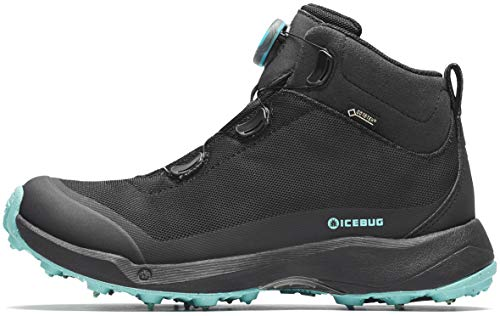 Icebug Womens Stavre BUGrip GTX Hiking Boot with Carbide Studded Traction Sole, Black/JadeMist, 6.5