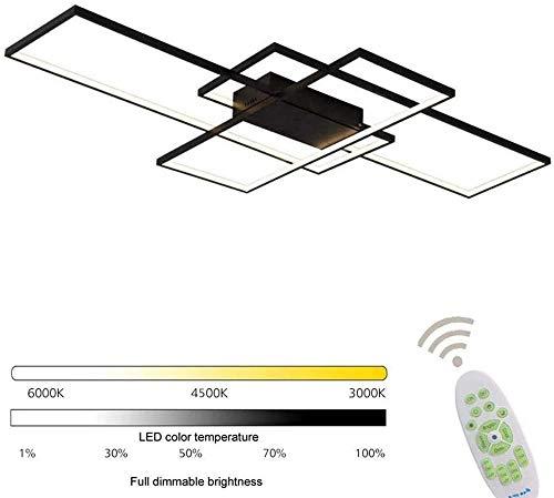 XBSLJ deckenventilator mit, Deckenleuchte LED-Deckenleuchte Einstellbare LED-Leisten Deckenleuchte Helligkeit einstellbar Dimmbar für Wohnzimmer Schlafzimmer 140cm-90cm_Schwarz