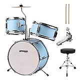 ammoon Tambor para niños de 35,56 cm de 3 piezas con pedal de platillos ajustable Instrumento musical para niños niños principiantes