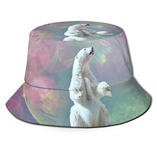HARLEY BURTON Sombrero unisex de pescador sombrero de jabón burbuja oso polar viaje playa sol sombreros para hombres mujeres negro