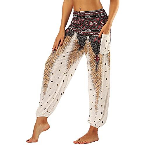 Nuofengkudu Femme Harem Pantalon Sarouel Thaïlandais Hippie Baggy Léger Boho Ethnique Smockée Taille Haute avec Poches Yoga Pants Été Plage ,Marron Paon,Taille unique