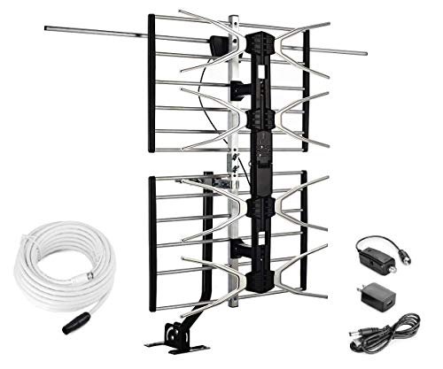 McDuory Digital HDTV Outdoor Amplified Antenna - 150 Miles Range - Mounting Pole & 40 feet RG6 Coaxial Cable Included - Optimized Performance in UHF & VHF - Tools Free Installation