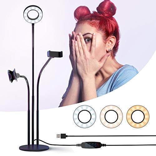 Ring Light with Phone Holder & Microphone Stand for Selfie/Live Stream/Makeup/YouTube, Mini LED Circle Lighting with Flexible Arms Universal with iPhone/Android