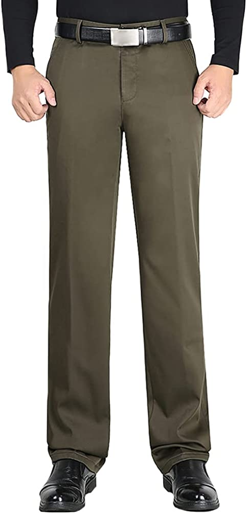 Surprise price HAORUN Men Fleece Lined Omaha Mall Dress Fit Regular Classic Pants Straight