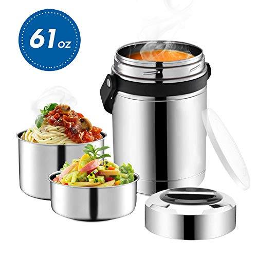 Soup Thermos,Food Jar with Handle for Hot Food,3 Tier Thermal Insulated Lunch Thermos Wide Mouth,Stainless Steel Vacuum Insulated Flask,Travel Food Storage Carrier Container Bento Box (Silver, 61oz)