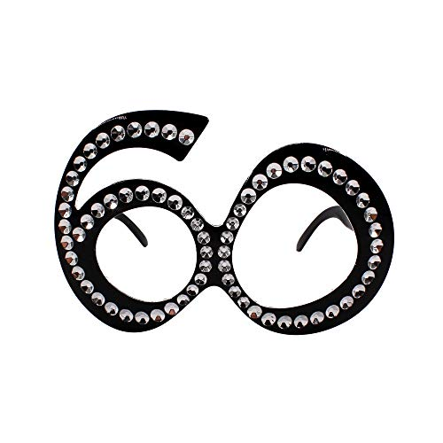 Carnavalife Gafas de Disfraz para Cumpleaños, Con Diseño de Número 60. Perfectas para Aniversario, Cumpleaños y Fiestas de Disfraces.