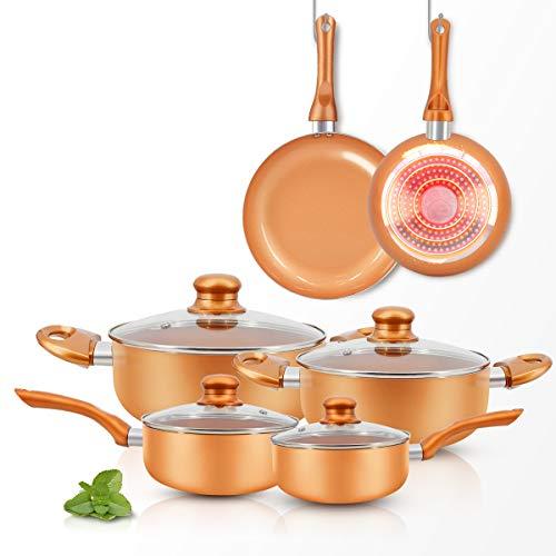 FRUITEAM 10pcs Cookware Set Ceramic Nonstick Soup Pot/Milk Pot/Frying Pans Set |...