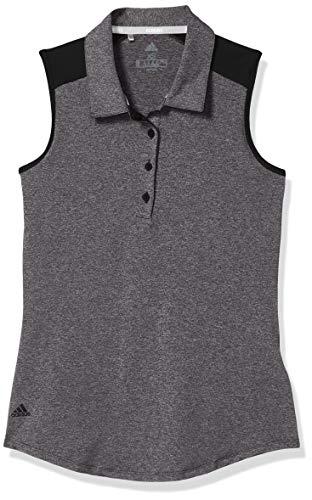 adidas Ultimate365 Sleeveless Polo, Negro Heather, Medium para Mujer