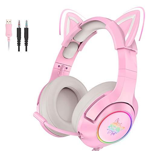 Pink Gaming Headset Katzenohren mit Mikrofon, Abnehmbarer Cat Ear Kopfhörer für PS4, Xbox One, PC, Smartphone, HiFi 7.1 Stereo Noise Cancelling Headset mit 3,5 mm Adapterkabel für Frauen