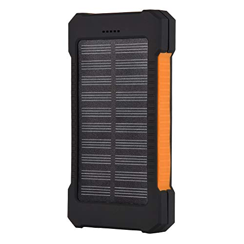 Banco de energía Solar, Kit de Bricolaje de Cargador Solar portátil al Aire Libre portátil a Prueba de Agua de 8000 mAh, con 9 Luces LED, Puerto USB Dual, Carga rápida, para teléfono (Naranja)