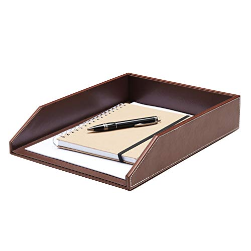 Gallaway Leather Letter Tray Desk Organizer - Premium Pu Leather Tray Perfect for Office Organization, Document Holder Fits A4 Paper, Stackable Drawers for Extra Desk Storage. (Brown)