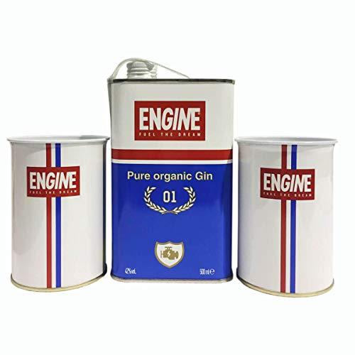 Gin Engine cl.50 con 2 bicchieri in metallo