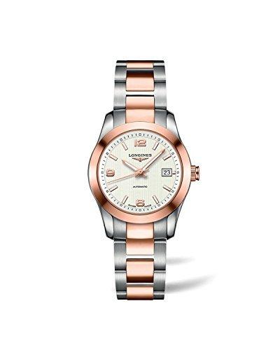 Longines Conquest automático Plata Dial 18KT Rose Oro Acero Inoxidable Acero Damas Reloj l22855767por Longines