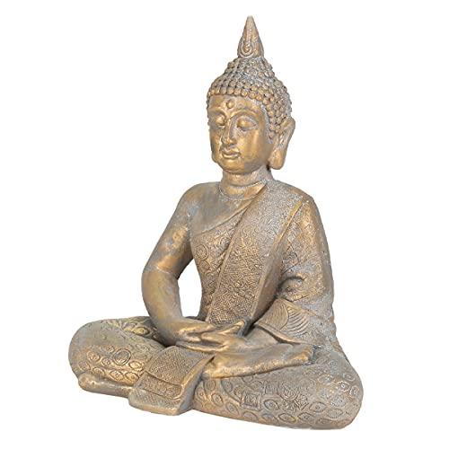 ECD Germany Statua di Buddha Seduto 48 cm Decorazione per Casa Statuetta Feng Shui Statuetta Decorativa in Poliresina Sculture a Forma di Buddha Scultura per Interni ed Esterni Statue