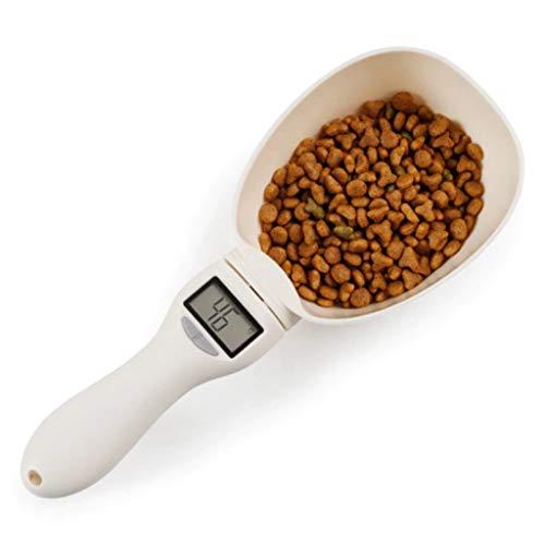 Abaimao Multi-functional Digital Dog Food Scoop Measuring Pet Spoon Detachable Cat Food Scoop Digital Scale Spoon with LCD Display (Beige)