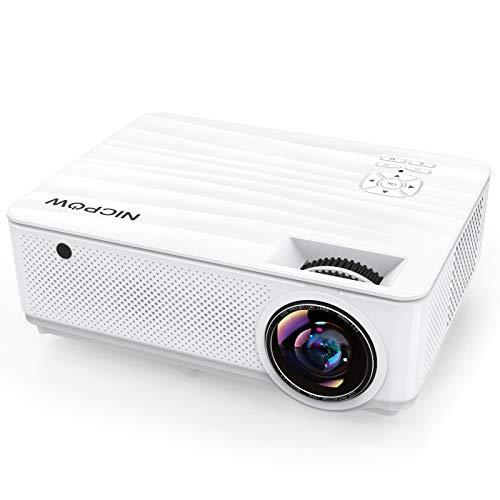 Beamer 7500 Lumens, NICPOW Native 1080P Beamer Full HD, Heimkino Beamer mit 300'' Display und ±40°4D Trapezkorrektur, LED Projektor unterstützt TV Stick/HDMI/AV/VGA/USB/PS4/iOS/Android Smartphone