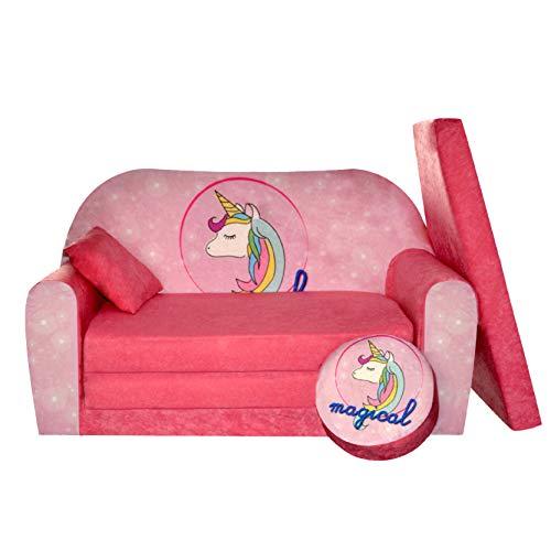 FORTISLINE Kindersofa Kindercouch Aufklappen Bettfunktion + Hocker W319 Viele Muster (Einhorn)