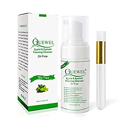 Lash shampoo 100 ML,Eyelash Cleanser For Lash Extensions,Tea Tree Cleanser Oil Free With Soft Brush,Safe Eyelash Extension Cleanser For Sensitive Daily Use from Quewel Lash