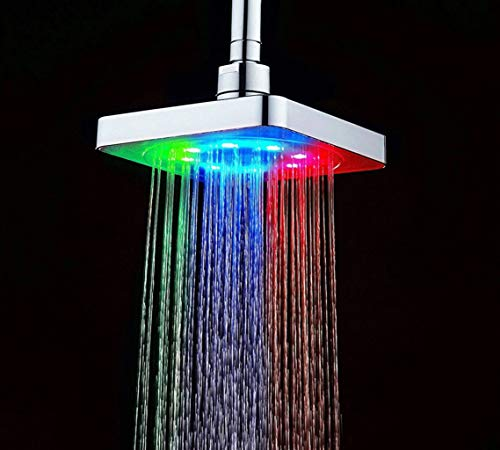 SxType 6-inch vierkante douchekop, 7 kleurveranderingen, romantische regendouchekop, waterval-douchekop, douchekop voor badkamer, als disco