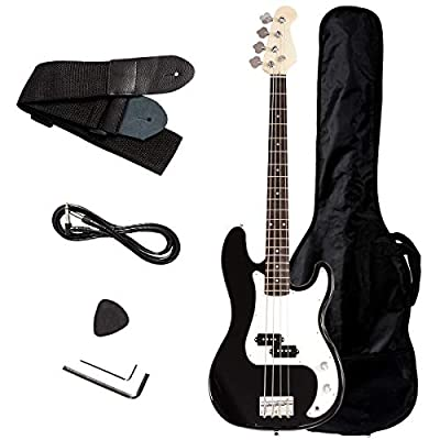 Safstar Electric Bass Guitar Full Size 4 Strings with Amp Cord Strap Bag Package for Starter Beginners