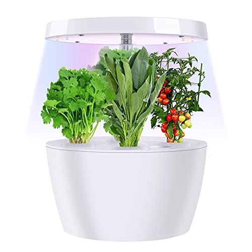 Qweidown Sistema de Cultivo Hidropónico, Smart Garden Jardinera de Interior de Hierbas con luz de Crecimiento LED, Altura Ajustable Temporizador Automático Kits de Germinación Inteligente (4 Pods)