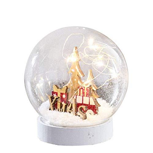 Calentar lámpara de mesa de Navidad casera escena de la decoración de la nieve Árbol de la noche la luz de Navidad llevó festival de Ambiente de la batería adornos de cristal rojo de bola de nieve 12