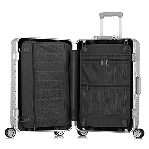 Read About Lightweight Expandable Travel Luggage Carry On Wheels 20 Inch Black Cabin Trolley Aluminu...