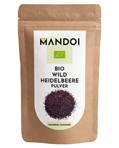 Mandoi BIO wild Heidelbeere Pulver, 100g organic wild blueberry 100% Fruchtpulver ohne Zusätze ohne Zucker