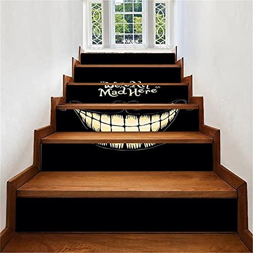 Pegatinas para escaleras, 6 piezas de decoración de Halloween, pegatinas para escaleras, PVC extraíble, autoadhesivo, para escaleras, suelo, calcomanía de vinilo, papel tapiz mural, 18X100cm(Color:
