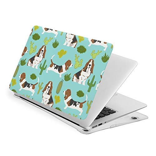 Basset Hound Mint Cactus MacBook New Air 13 inch Case (A1932 & A2179) Laptop Cover Hard Shell Protective Case