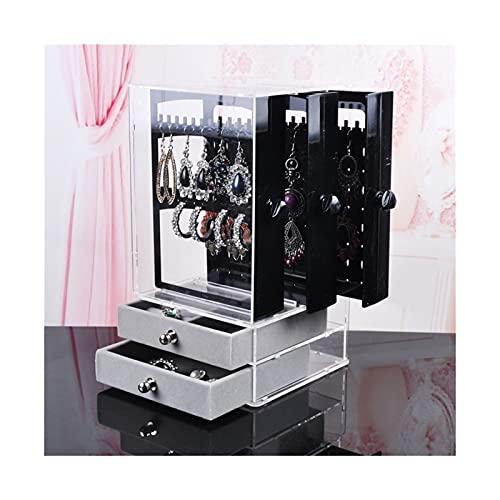 SONG Caja de joyería Pendientes Caja de Almacenamiento Organizador Joyas Cajón Pantalla Rack Organizador Collar Joyería Reloj Mueble Plástico (Color : Black)