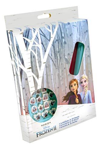 Disney Frozen 2 -19390 - 3 braccialetti con 18 charms da applicare, multicolore