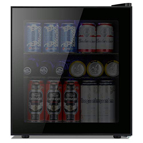 Kismile 1.6 Cu.ft Beverage Refrigerator and Cooler, 60 Can Mini Fridge with Glass Door for Soda Beer or Wine,Small Drink Cooler Dispenser Counter Top Refrigerator for Home,Office,or Bar (Black)