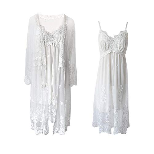Gaga city Damen Nachthemden und Spitzen Robe Vintage White Nachthemd Spaghettiträger Kimono Damen Sexy Dessous Set Elegantes Spitzennachthemd Nachtwäsche mit V-Ausschnitt, EU S Klein