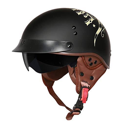 L.J.JZDY Motorradhelm Motorrad-Sturzhelm for Männer Frauen Retro Electric Vehicle Halb Helm mit Innen Sonnenbrille Sicherheit Schutzhelm Kopfschutz (Color : 01 Schwarz, Size : L)
