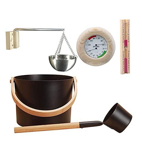 HT&PJ Juego de accesorios para sauna de 7 l, cubo de aluminio, con cucharón, aceite aromático, taza y reloj de arena, termómetro/higrómetro y set de accesorios para sauna para casa