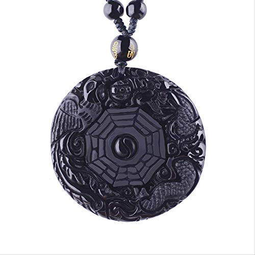 Amulets And Talismans Natural Black Obsidian Necklaces & Pendants Carved Chinese Yin Yang Bagua Zhen Dragon Phoenix