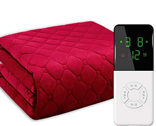 ESACLM Heizdecke mit Abschaltautomatik, Elektrisch Wärmedecke mit Überhitzungsschutz und 6 Temperaturstufen Elektrische Heizdecke, Waschbar,Rot