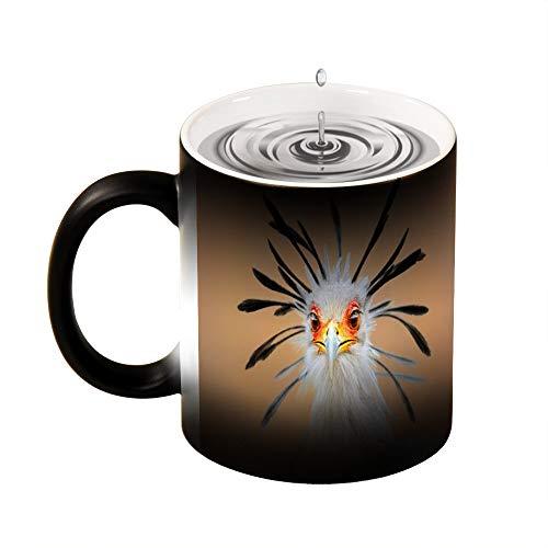 Magic mok warmte gevoelige secretaris vogel Portret Close-up hoofd schot grappige kleur veranderen koffie mok Cup 11 OZ