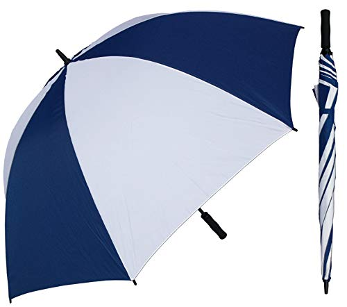 RainStoppers 68-Inch Oversize Windproof Golf Umbrella (Navy and White)